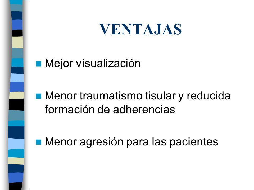 VENTAJAS Mejor visualización Menor traumatismo tisular y reducida formación de adherencias Menor agresión para las pacientes