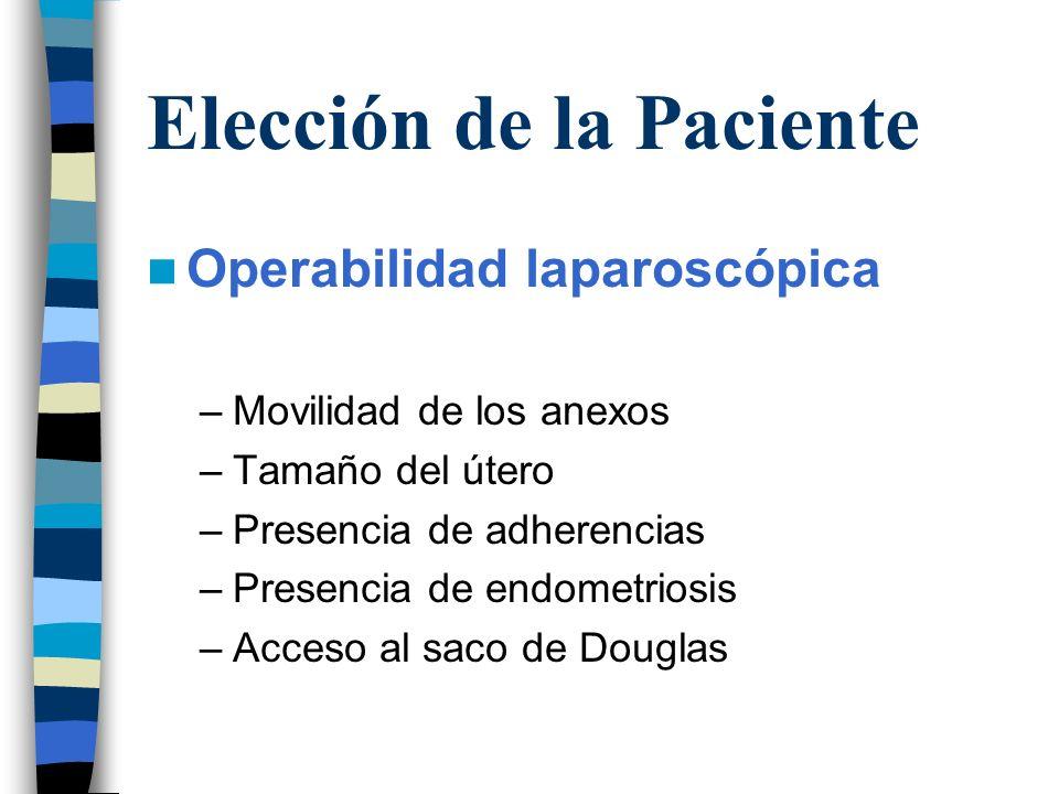 Elección de la Paciente Operabilidad laparoscópica –Movilidad de los anexos –Tamaño del útero –Presencia de adherencias –Presencia de endometriosis –A