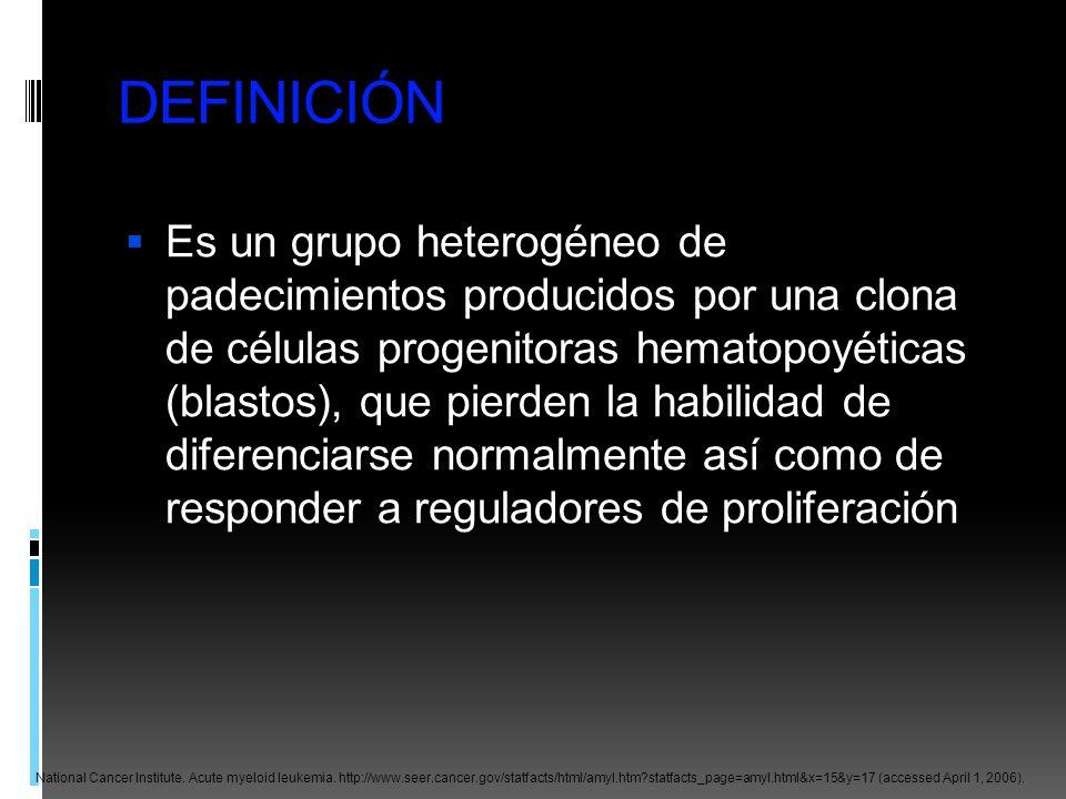 DEFINICIÓN Es un grupo heterogéneo de padecimientos producidos por una clona de células progenitoras hematopoyéticas (blastos), que pierden la habilid