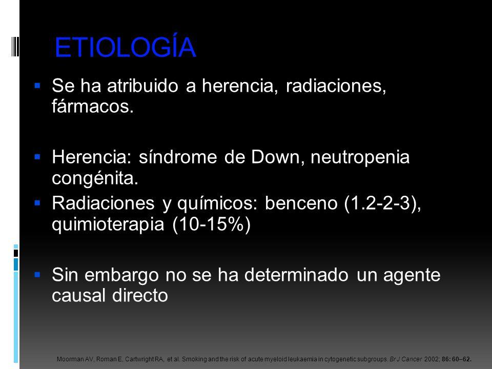 ETIOLOGÍA Se ha atribuido a herencia, radiaciones, fármacos. Herencia: síndrome de Down, neutropenia congénita. Radiaciones y químicos: benceno (1.2-2