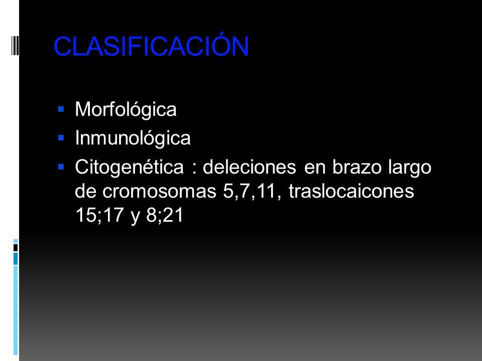 CLASIFICACIÓN Morfológica Inmunológica Citogenética : deleciones en brazo largo de cromosomas 5,7,11, traslocaicones 15;17 y 8;21