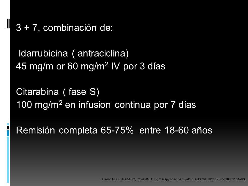 3 + 7, combinación de: Idarrubicina ( antraciclina) 45 mg/m or 60 mg/m 2 IV por 3 días Citarabina ( fase S) 100 mg/m 2 en infusion continua por 7 días
