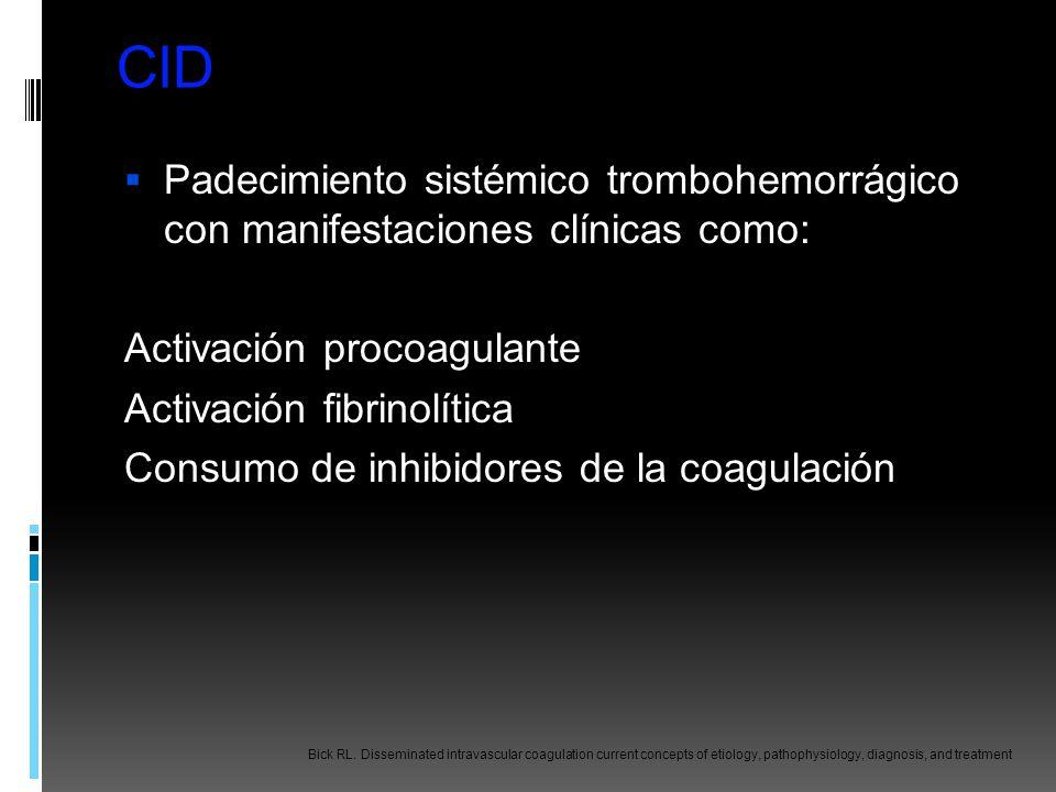 CID Padecimiento sistémico trombohemorrágico con manifestaciones clínicas como: Activación procoagulante Activación fibrinolítica Consumo de inhibidor