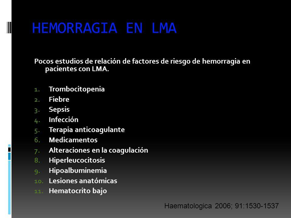 HEMORRAGIA EN LMA Pocos estudios de relación de factores de riesgo de hemorragia en pacientes con LMA. 1. Trombocitopenia 2. Fiebre 3. Sepsis 4. Infec