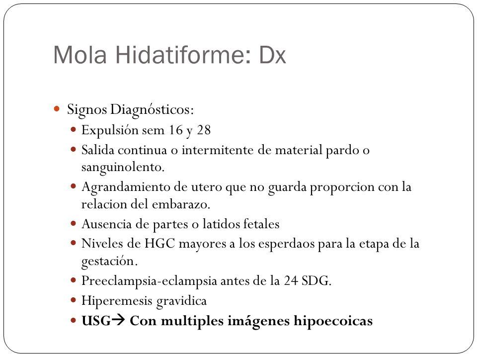 Mola Hidatiforme: Dx Signos Diagnósticos: Expulsión sem 16 y 28 Salida continua o intermitente de material pardo o sanguinolento. Agrandamiento de ute