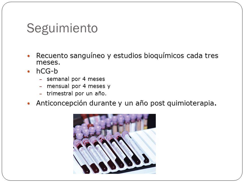 Seguimiento Recuento sanguíneo y estudios bioquímicos cada tres meses. Recuento sanguíneo y estudios bioquímicos cada tres meses. hCG-b hCG-b – semana