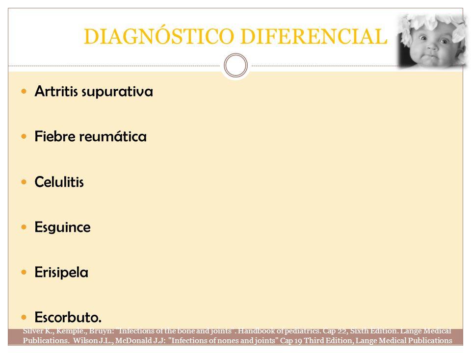 DIAGNÓSTICO DIFERENCIAL Artritis supurativa Fiebre reumática Celulitis Esguince Erisipela Escorbuto. Silver K., Kemple., Bruyn:
