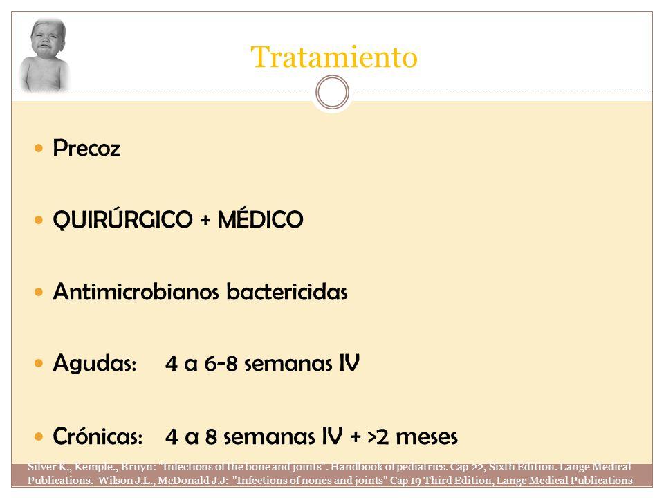 Tratamiento Precoz QUIRÚRGICO + MÉDICO Antimicrobianos bactericidas Agudas:4 a 6-8 semanas IV Crónicas: 4 a 8 semanas IV + >2 meses Silver K., Kemple.