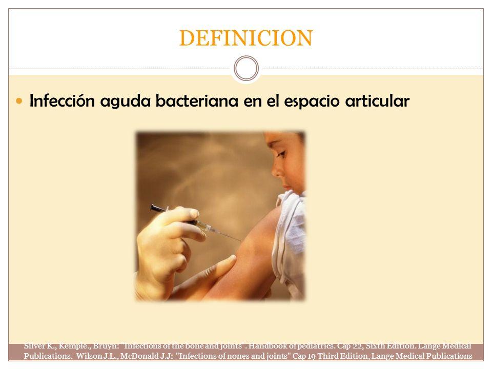 DEFINICION Infección aguda bacteriana en el espacio articular Silver K., Kemple., Bruyn: