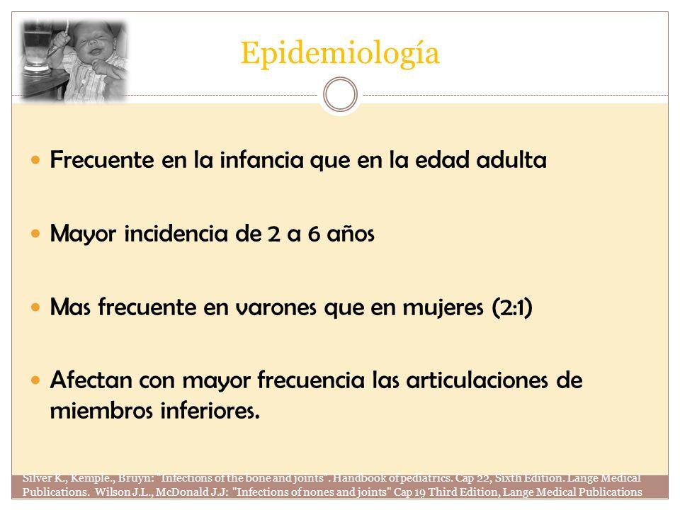 Epidemiología Frecuente en la infancia que en la edad adulta Mayor incidencia de 2 a 6 años Mas frecuente en varones que en mujeres (2:1) Afectan con