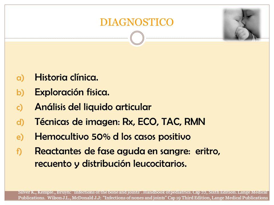 DIAGNOSTICO a) Historia clínica. b) Exploración fisica. c) Análisis del liquido articular d) Técnicas de imagen: Rx, ECO, TAC, RMN e) Hemocultivo 50%