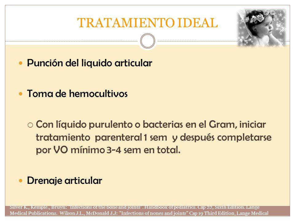 TRATAMIENTO IDEAL Punción del liquido articular Toma de hemocultivos Con líquido purulento o bacterias en el Gram, iniciar tratamiento parenteral 1 se
