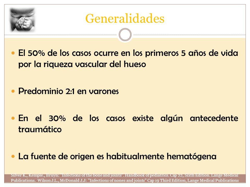 Generalidades El 50% de los casos ocurre en los primeros 5 años de vida por la riqueza vascular del hueso Predominio 2:1 en varones En el 30% de los c