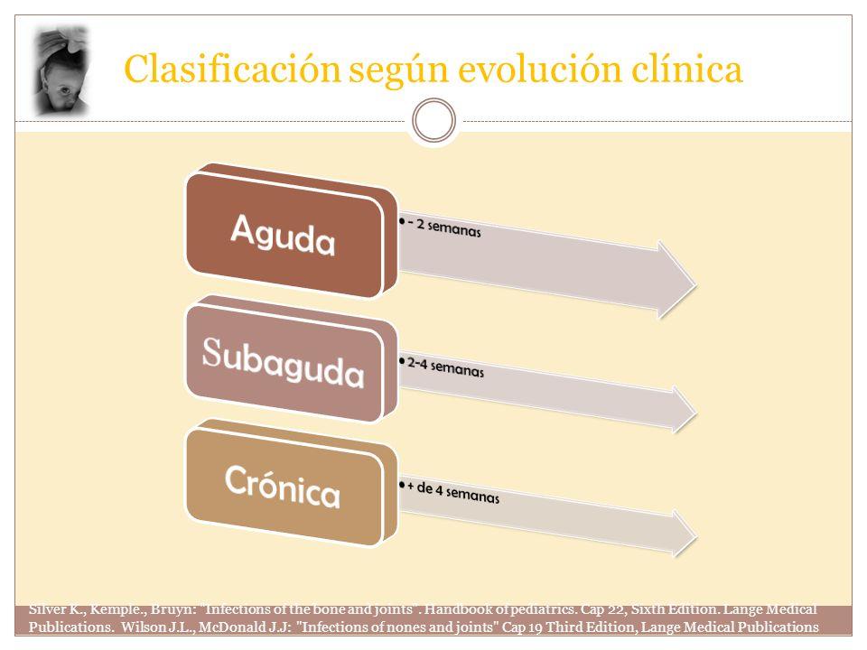 Clasificación según mecanismo de introducción OsteomielitisSecundariaContiguidadPostraumáticaPrimariaPostquirúrgica Silver K., Kemple., Bruyn: Infections of the bone and joints .