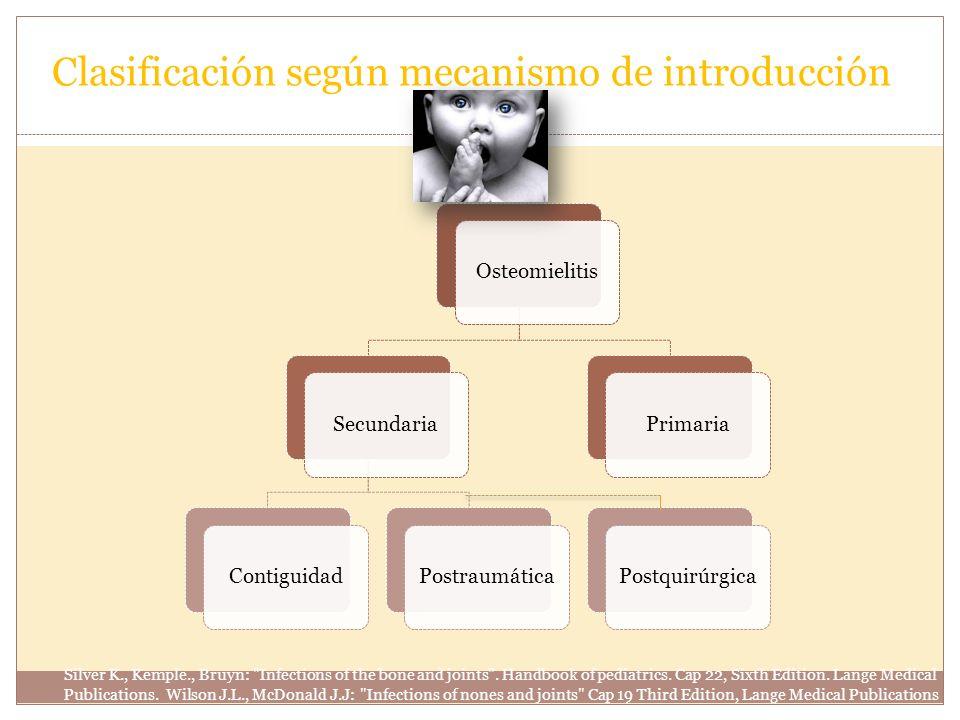 Clasificación según mecanismo de introducción OsteomielitisSecundariaContiguidadPostraumáticaPrimariaPostquirúrgica Silver K., Kemple., Bruyn:
