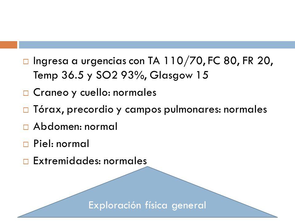 Ingresa a urgencias con TA 110/70, FC 80, FR 20, Temp 36.5 y SO2 93%, Glasgow 15 Craneo y cuello: normales Tórax, precordio y campos pulmonares: norma