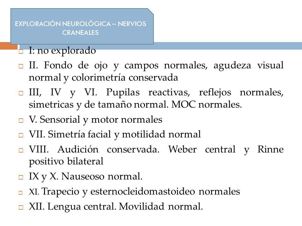 Nervios craneales: I: no explorado II. Fondo de ojo y campos normales, agudeza visual normal y colorimetría conservada III, IV y VI. Pupilas reactivas