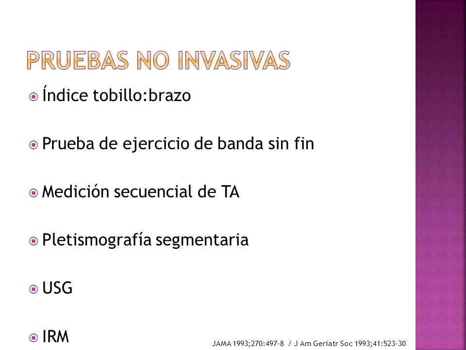 Índice tobillo:brazo Prueba de ejercicio de banda sin fin Medición secuencial de TA Pletismografía segmentaria USG IRM JAMA 1993;270:497-8 / J Am Geri