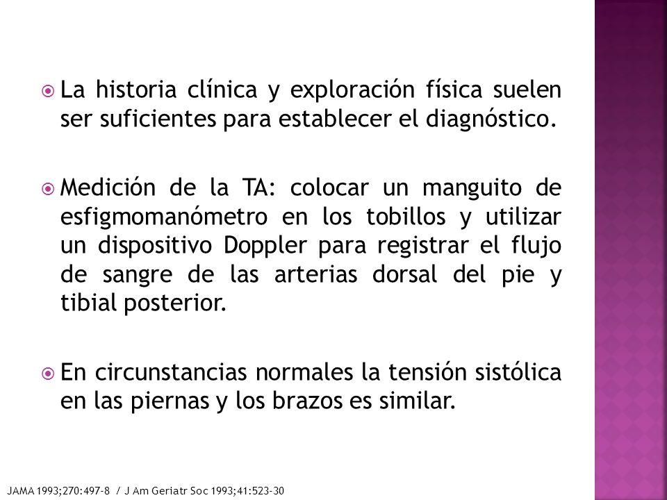 La historia clínica y exploración física suelen ser suficientes para establecer el diagnóstico. Medición de la TA: colocar un manguito de esfigmomanóm