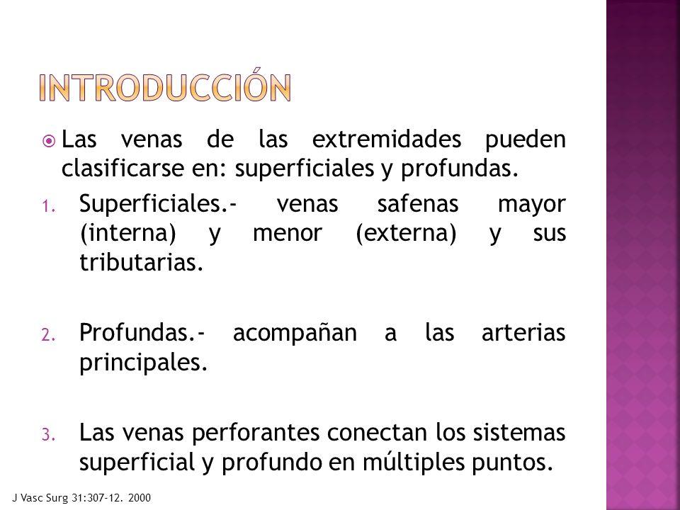 Las venas de las extremidades pueden clasificarse en: superficiales y profundas. 1. Superficiales.- venas safenas mayor (interna) y menor (externa) y