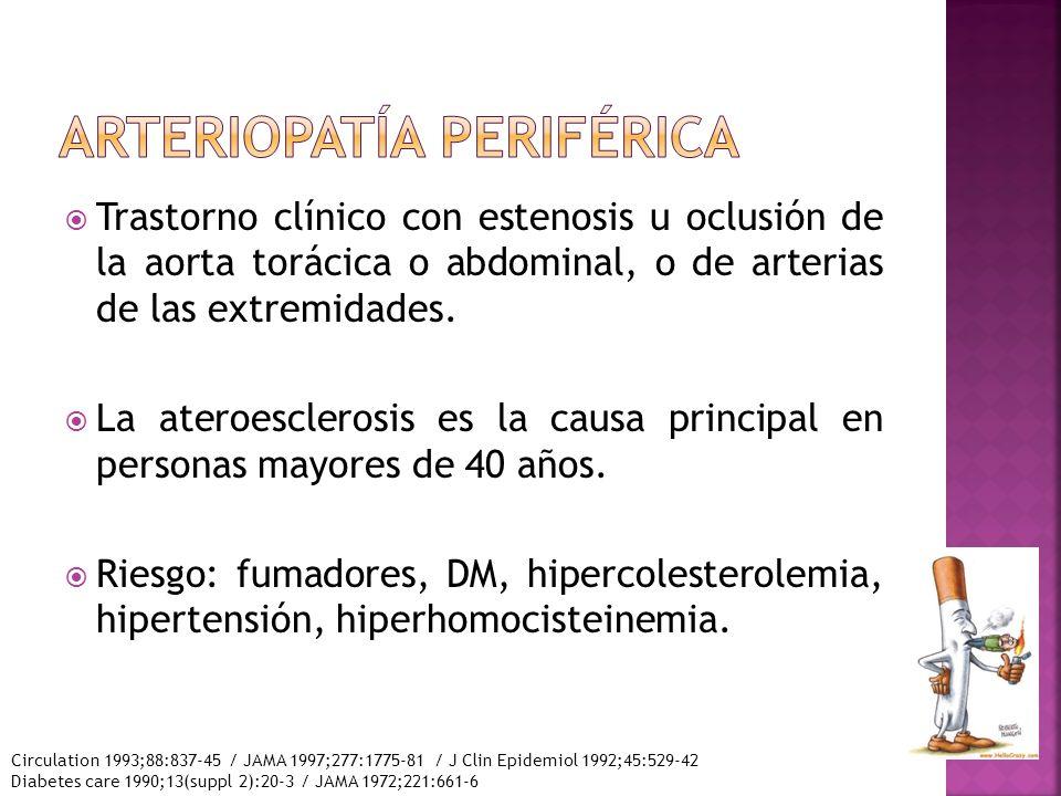 Trastorno clínico con estenosis u oclusión de la aorta torácica o abdominal, o de arterias de las extremidades. La ateroesclerosis es la causa princip