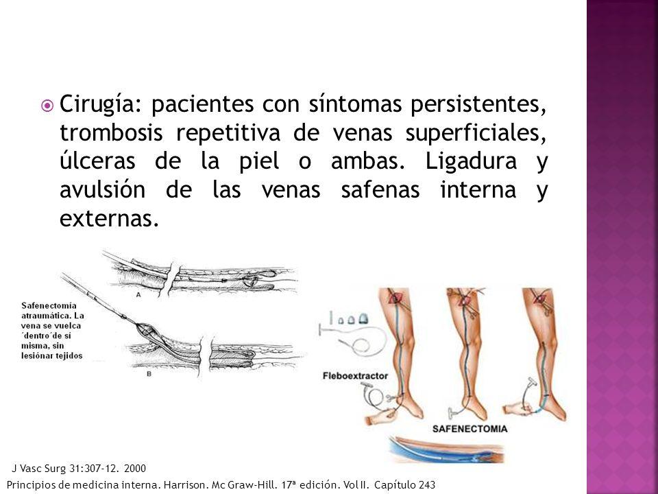 Cirugía: pacientes con síntomas persistentes, trombosis repetitiva de venas superficiales, úlceras de la piel o ambas. Ligadura y avulsión de las vena
