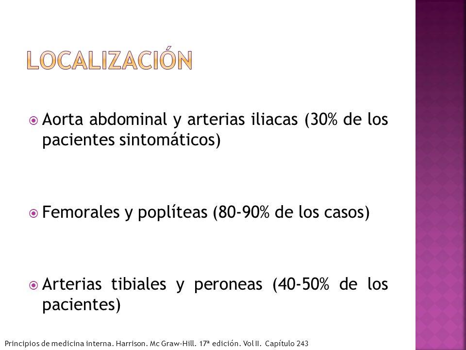 Aorta abdominal y arterias iliacas (30% de los pacientes sintomáticos) Femorales y poplíteas (80-90% de los casos) Arterias tibiales y peroneas (40-50