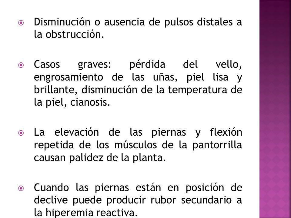 Disminución o ausencia de pulsos distales a la obstrucción. Casos graves: pérdida del vello, engrosamiento de las uñas, piel lisa y brillante, disminu