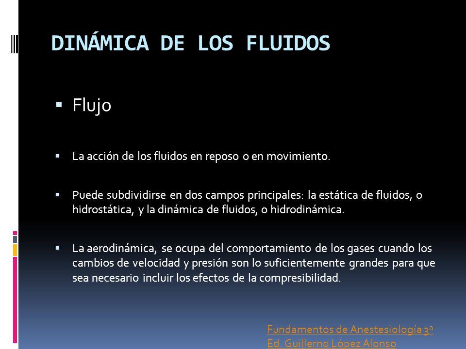 DINÁMICA DE LOS FLUIDOS Flujo La acción de los fluidos en reposo o en movimiento. Puede subdividirse en dos campos principales: la estática de fluidos