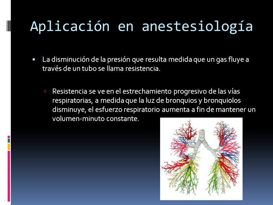 Aplicación en anestesiología La disminución de la presión que resulta medida que un gas fluye a través de un tubo se llama resistencia. Resistencia se