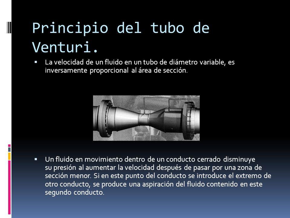 Principio del tubo de Venturi. La velocidad de un fluido en un tubo de diámetro variable, es inversamente proporcional al área de sección. Un fluido e