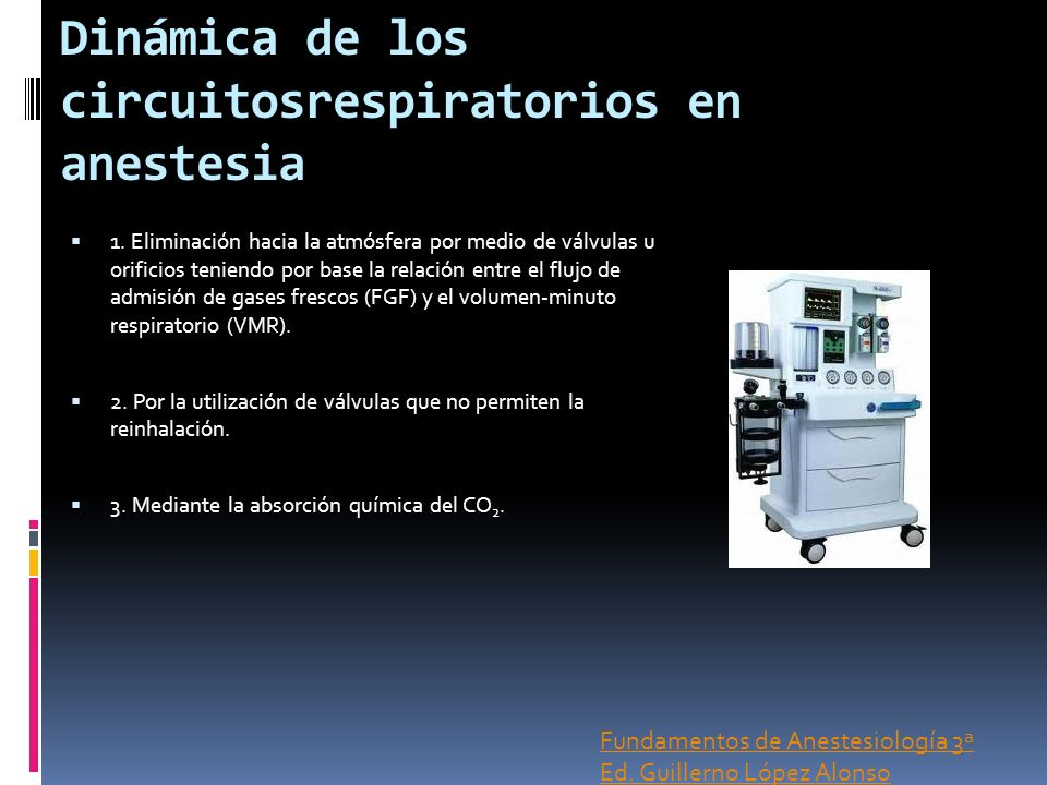 Dinámica de los circuitosrespiratorios en anestesia 1. Eliminación hacia la atmósfera por medio de válvulas u orificios teniendo por base la relación
