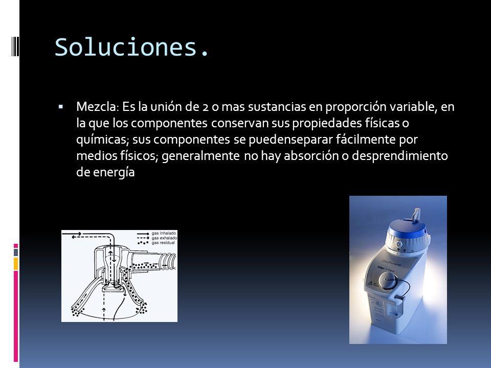 Soluciones. Mezcla: Es la unión de 2 o mas sustancias en proporción variable, en la que los componentes conservan sus propiedades físicas o químicas;