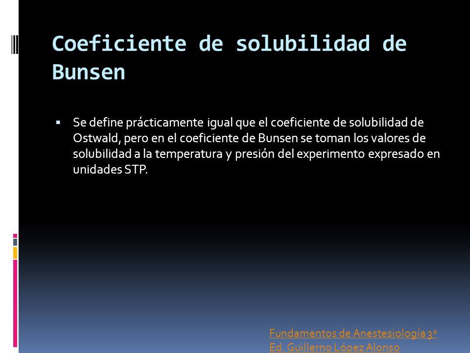 Coeficiente de solubilidad de Bunsen Se define prácticamente igual que el coeficiente de solubilidad de Ostwald, pero en el coeficiente de Bunsen se t