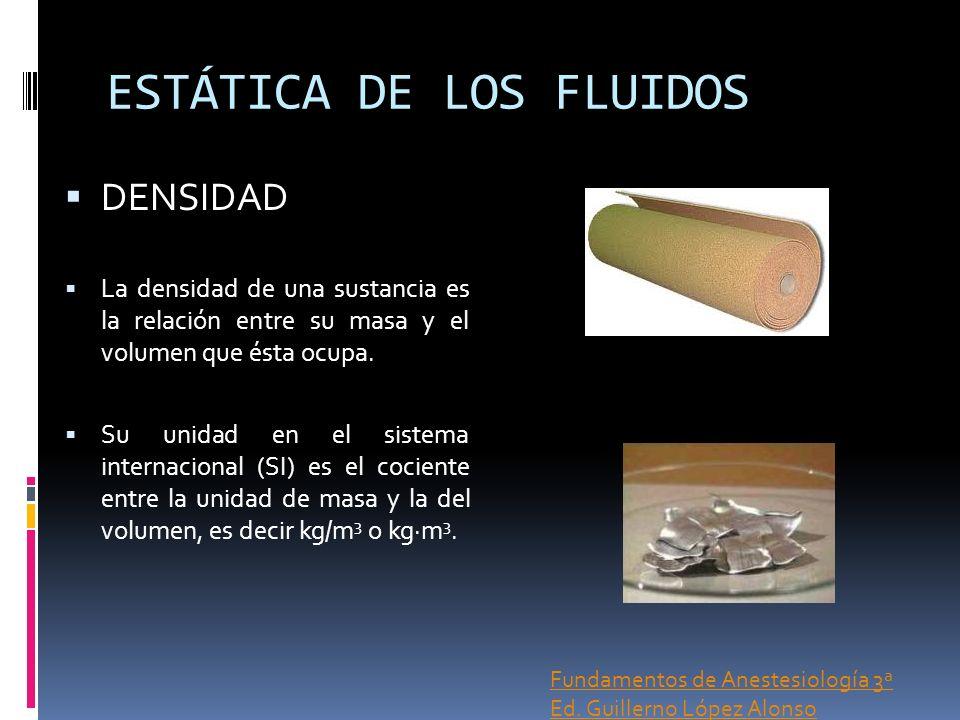 ESTÁTICA DE LOS FLUIDOS DENSIDAD La densidad de una sustancia es la relación entre su masa y el volumen que ésta ocupa. Su unidad en el sistema intern