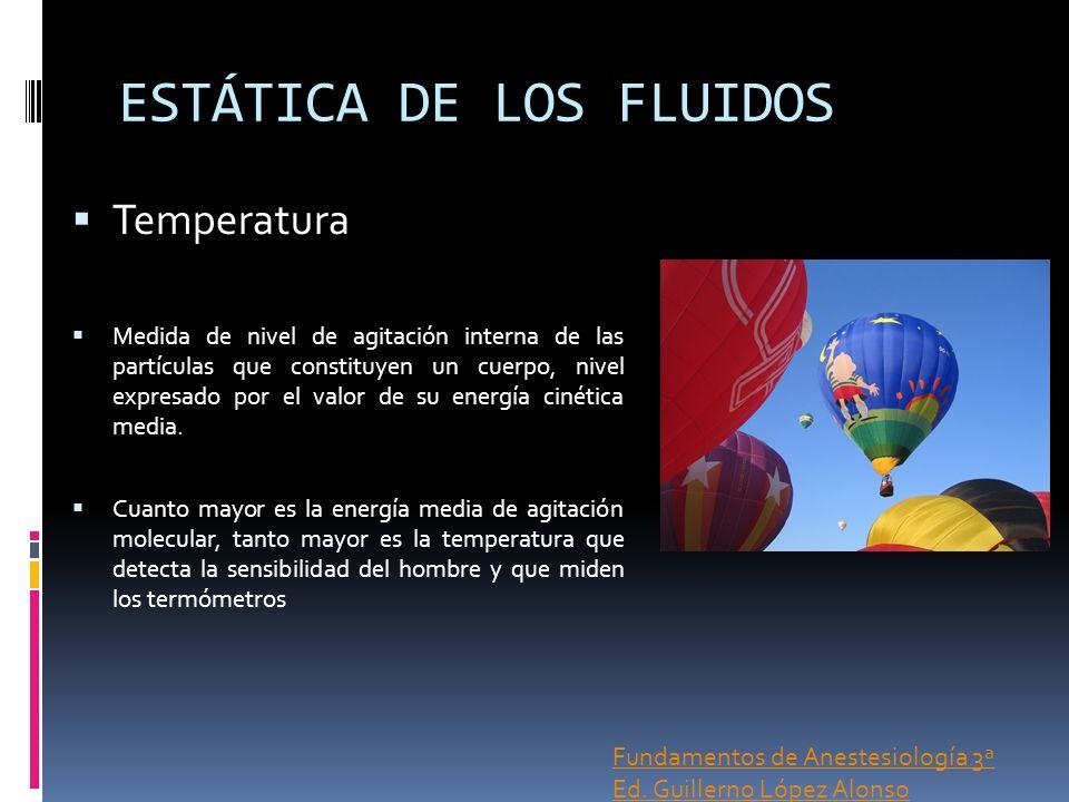 ESTÁTICA DE LOS FLUIDOS Temperatura Medida de nivel de agitación interna de las partículas que constituyen un cuerpo, nivel expresado por el valor de