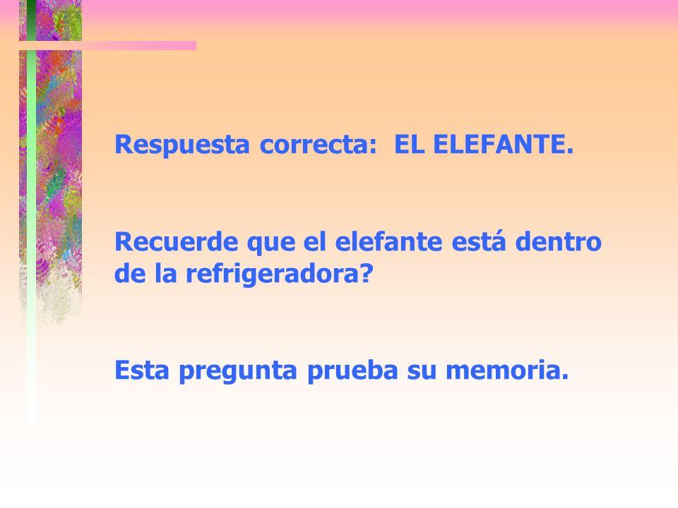 Respuesta correcta: EL ELEFANTE. Recuerde que el elefante está dentro de la refrigeradora.