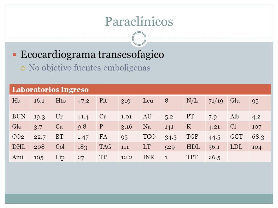Paraclínicos Ecocardiograma transesofagico No objetivo fuentes emboligenas Laboratorios Ingreso Hb16.1Hto47.2Plt319Leu8N/L71/19Glu95 BUN19.3Ur41.4Cr1.