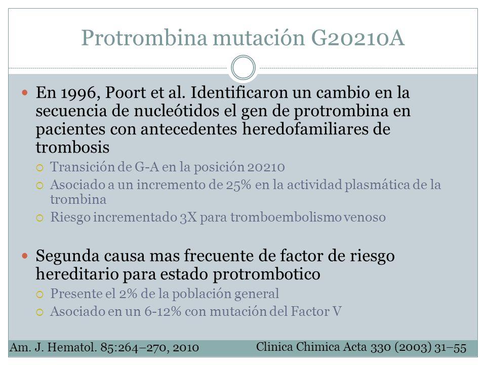 Protrombina mutación G20210A En 1996, Poort et al. Identificaron un cambio en la secuencia de nucleótidos el gen de protrombina en pacientes con antec