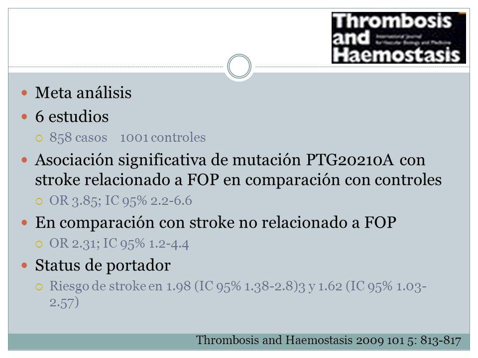 Meta análisis 6 estudios 858 casos 1001 controles Asociación significativa de mutación PTG20210A con stroke relacionado a FOP en comparación con contr