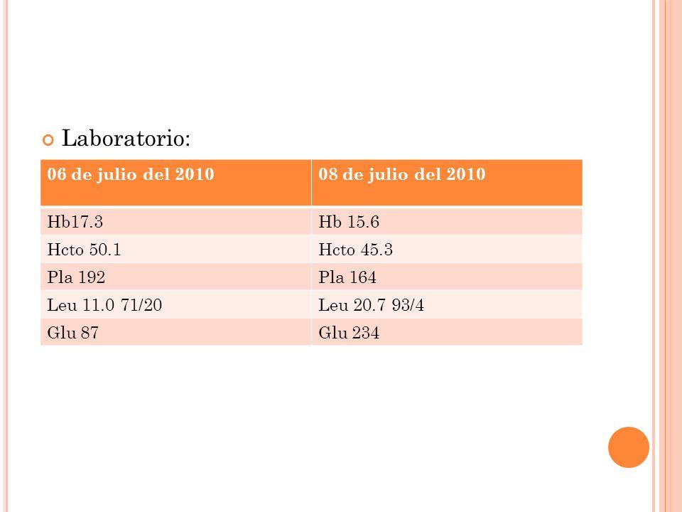 Laboratorio: 06 de julio del 201008 de julio del 2010 Hb17.3Hb 15.6 Hcto 50.1Hcto 45.3 Pla 192Pla 164 Leu 11.0 71/20Leu 20.7 93/4 Glu 87Glu 234