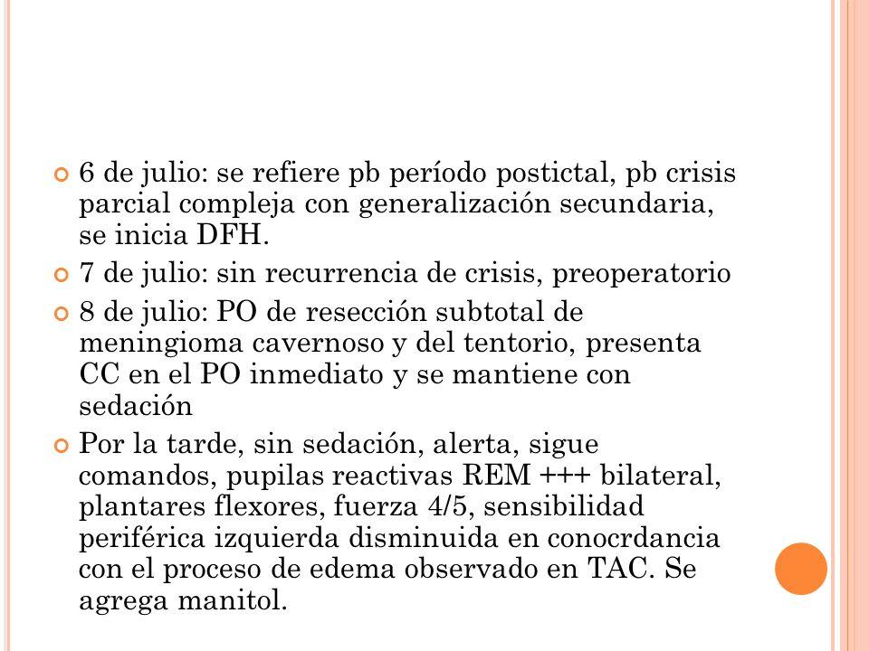 6 de julio: se refiere pb período postictal, pb crisis parcial compleja con generalización secundaria, se inicia DFH. 7 de julio: sin recurrencia de c