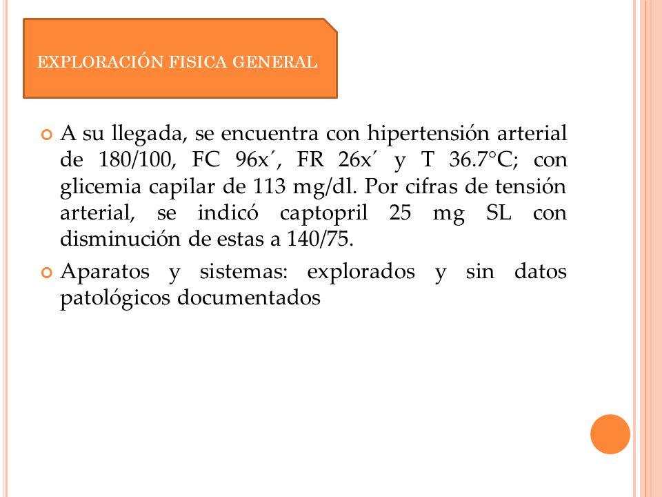 A su llegada, se encuentra con hipertensión arterial de 180/100, FC 96x´, FR 26x´ y T 36.7°C; con glicemia capilar de 113 mg/dl. Por cifras de tensión