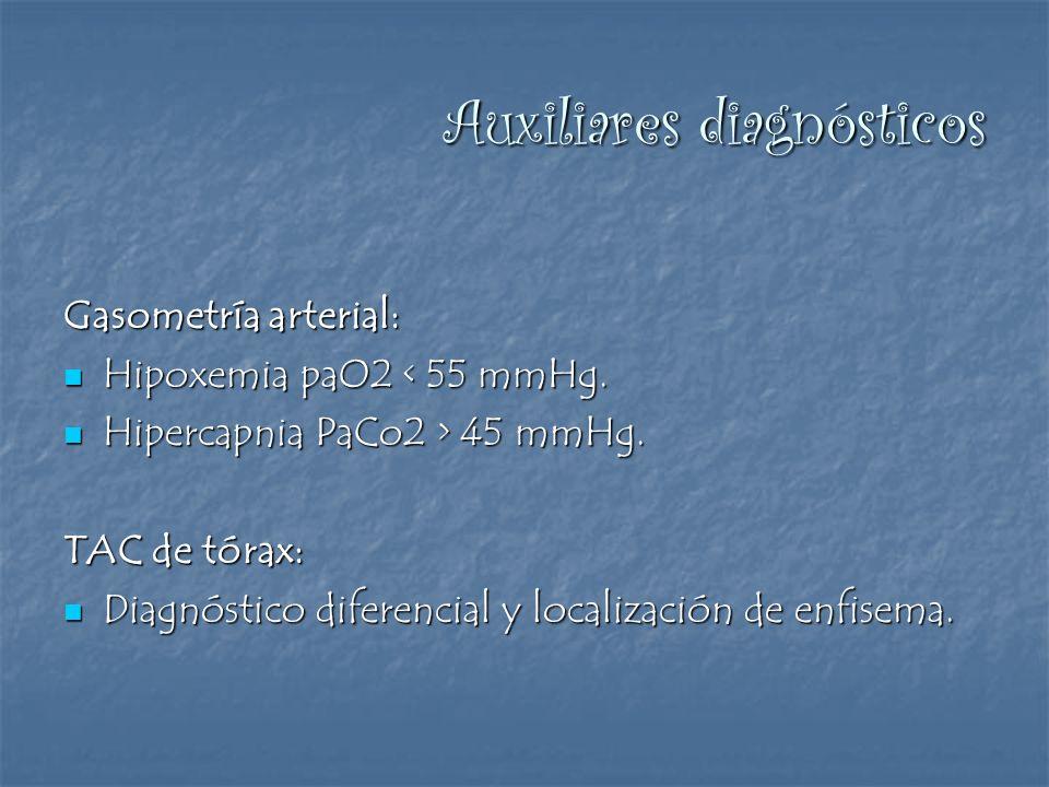 Auxiliares diagnósticos Gasometría arterial: Hipoxemia paO2 < 55 mmHg. Hipoxemia paO2 < 55 mmHg. Hipercapnia PaCo2 > 45 mmHg. Hipercapnia PaCo2 > 45 m