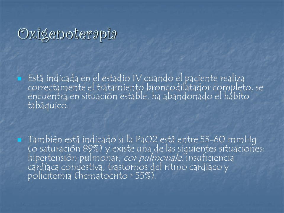 Oxigenoterapia Está indicada en el estadio IV cuando el paciente realiza correctamente el tratamiento broncodilatador completo, se encuentra en situac