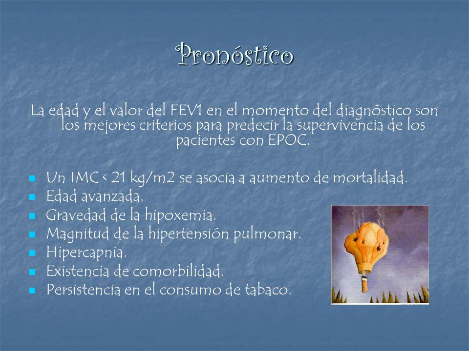 Pronóstico La edad y el valor del FEV1 en el momento del diagnóstico son los mejores criterios para predecir la supervivencia de los pacientes con EPO