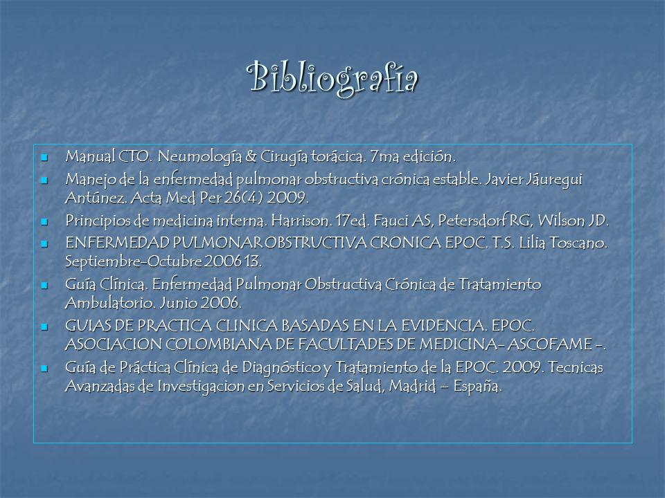 Bibliografía Manual CTO. Neumología & Cirugía torácica. 7ma edición. Manual CTO. Neumología & Cirugía torácica. 7ma edición. Manejo de la enfermedad p