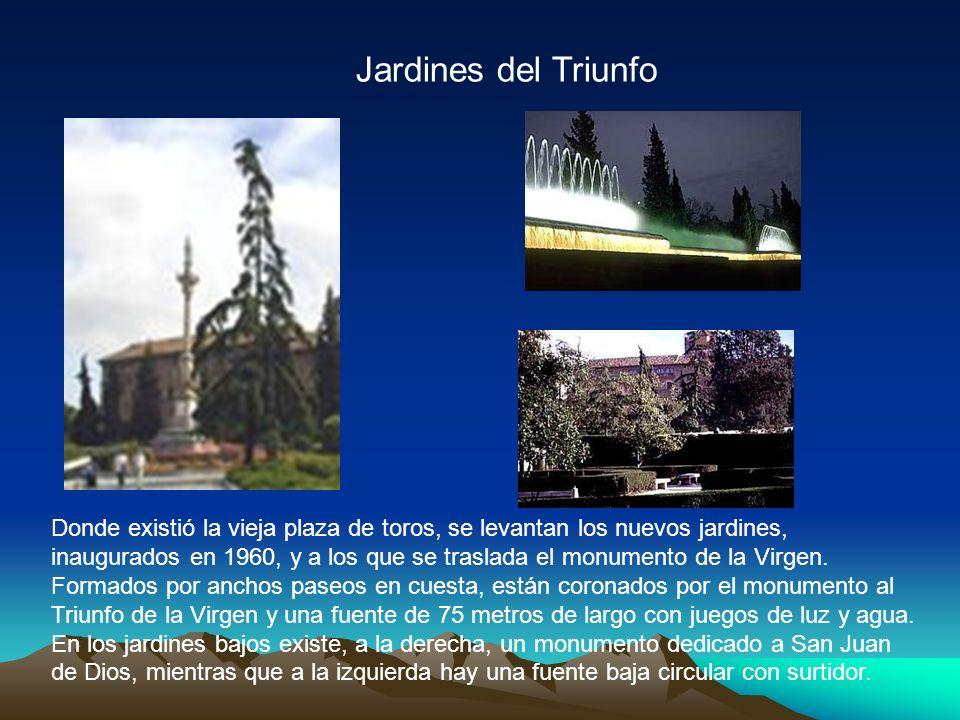 Jardines del Triunfo Donde existió la vieja plaza de toros, se levantan los nuevos jardines, inaugurados en 1960, y a los que se traslada el monumento de la Virgen.