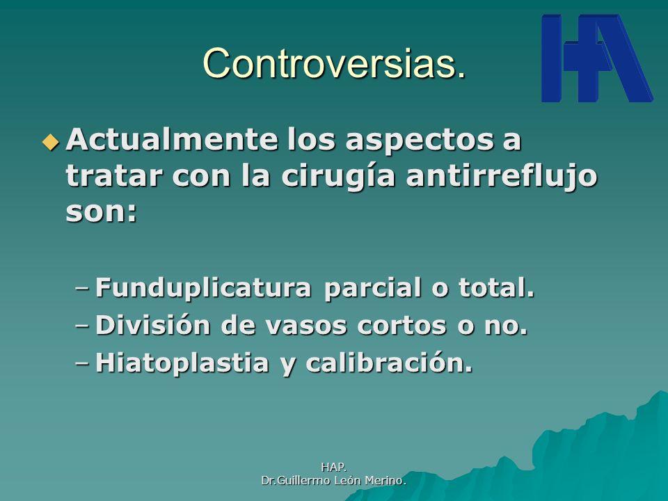 HAP. Dr.Guillermo León Merino. Controversias. Actualmente los aspectos a tratar con la cirugía antirreflujo son: Actualmente los aspectos a tratar con