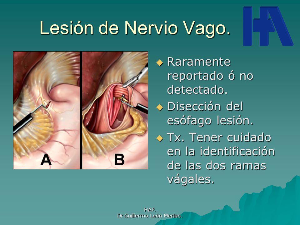 HAP. Dr.Guillermo León Merino. Lesión de Nervio Vago. Raramente reportado ó no detectado. Raramente reportado ó no detectado. Disección del esófago le